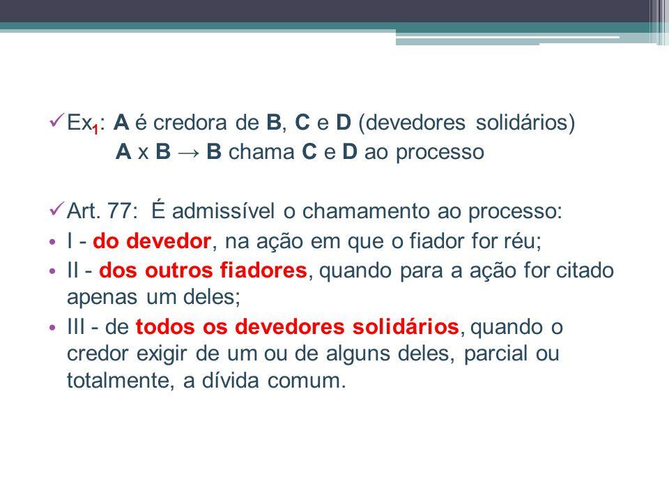 Ex 1 : A é credora de B, C e D (devedores solidários) A x B → B chama C e D ao processo Art. 77: É admissível o chamamento ao processo: I - do devedor