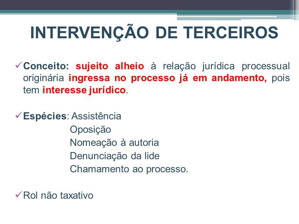 INTERVENÇÃO DE TERCEIROS Conceito: sujeito alheio à relação jurídica processual originária ingressa no processo já em andamento, pois tem interesse jurídico.
