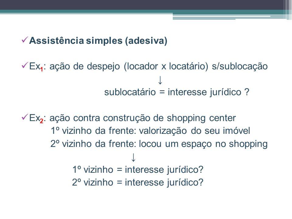 Assistência simples (adesiva) Ex 1 : ação de despejo (locador x locatário) s/sublocação ↓ sublocatário = interesse jurídico ? Ex 2 : ação contra const