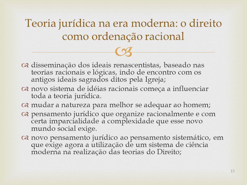   disseminação dos ideais renascentistas, baseado nas teorias racionais e lógicas, indo de encontro com os antigos ideais sagrados ditos pela Igreja;  novo sistema de idéias racionais começa a influenciar toda a teoria jurídica.