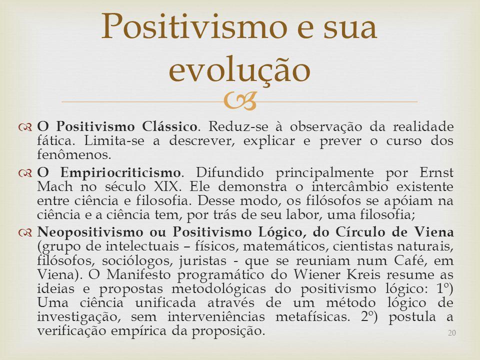   O Positivismo Clássico.Reduz-se à observação da realidade fática.