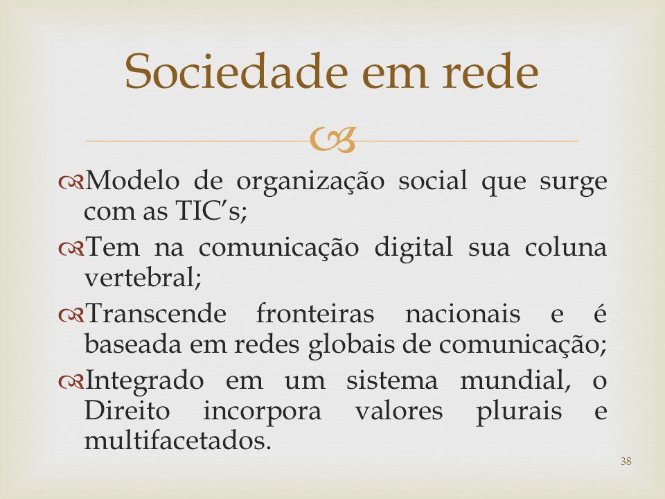   Modelo de organização social que surge com as TIC's;  Tem na comunicação digital sua coluna vertebral;  Transcende fronteiras nacionais e é baseada em redes globais de comunicação;  Integrado em um sistema mundial, o Direito incorpora valores plurais e multifacetados.