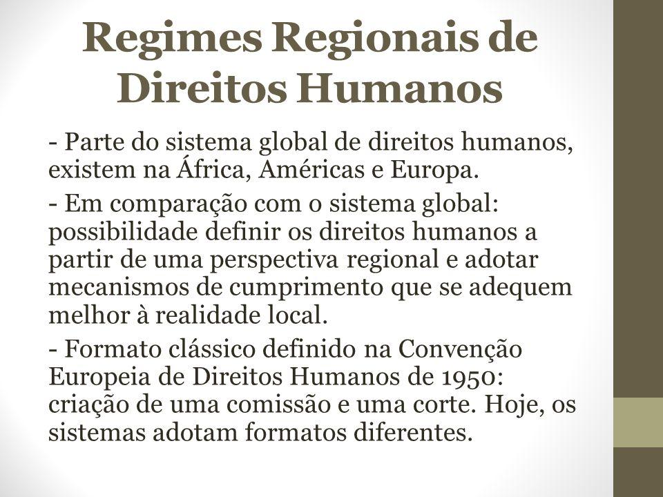 Regimes Regionais de Direitos Humanos - Parte do sistema global de direitos humanos, existem na África, Américas e Europa. - Em comparação com o siste