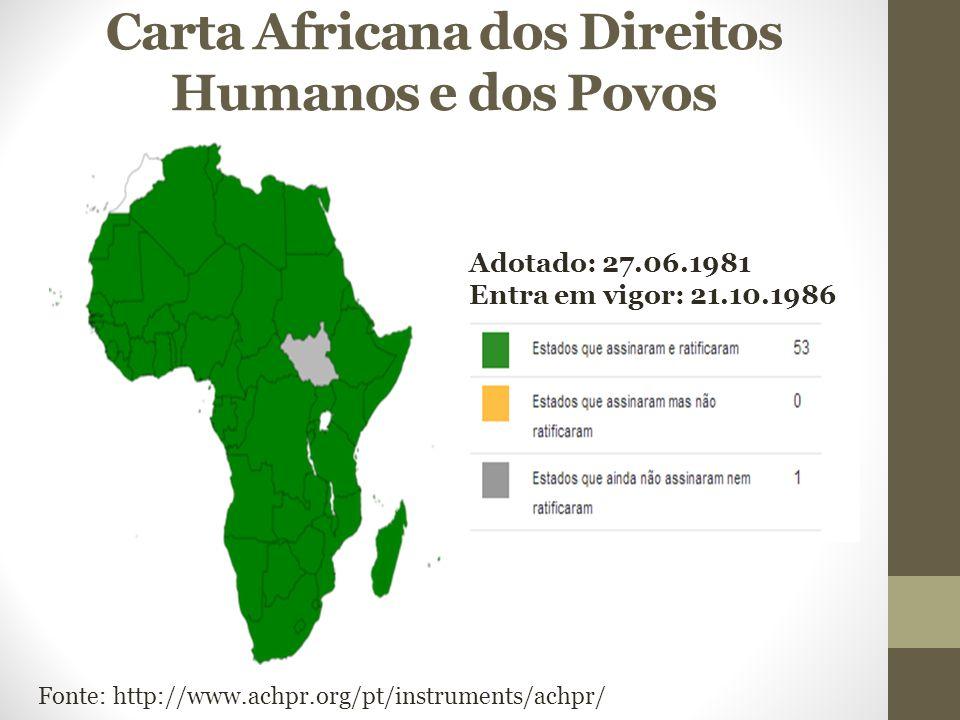 Carta Africana dos Direitos Humanos e dos Povos Adotado: 27.06.1981 Entra em vigor: 21.10.1986 Fonte: http://www.achpr.org/pt/instruments/achpr/