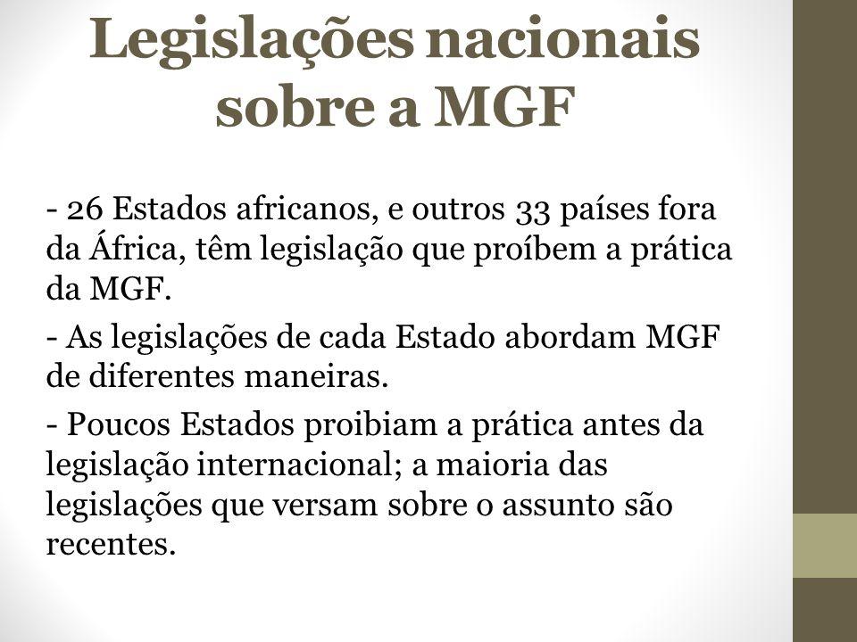 Legislações nacionais sobre a MGF - 26 Estados africanos, e outros 33 países fora da África, têm legislação que proíbem a prática da MGF. - As legisla