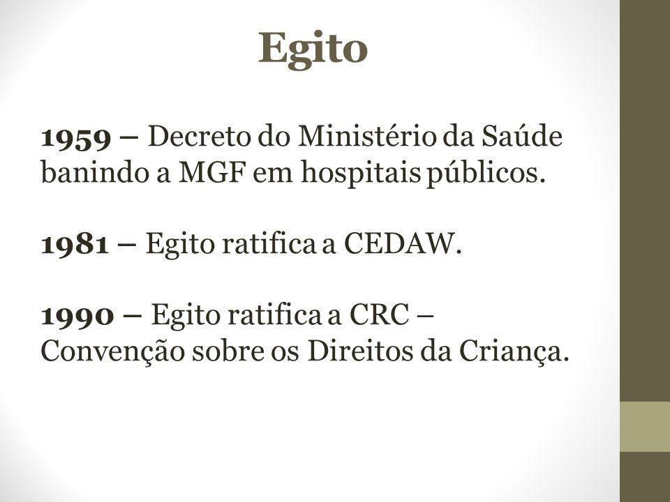 Egito 1959 – Decreto do Ministério da Saúde banindo a MGF em hospitais públicos. 1981 – Egito ratifica a CEDAW. 1990 – Egito ratifica a CRC – Convençã