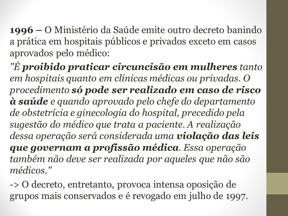 1996 – O Ministério da Saúde emite outro decreto banindo a prática em hospitais públicos e privados exceto em casos aprovados pelo médico: