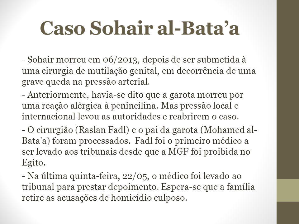 Caso Sohair al-Bata'a - Sohair morreu em 06/2013, depois de ser submetida à uma cirurgia de mutilação genital, em decorrência de uma grave queda na pr