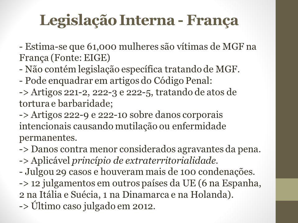 Legislação Interna - França - Estima-se que 61,000 mulheres são vítimas de MGF na França (Fonte: EIGE) - Não contém legislação específica tratando de MGF.