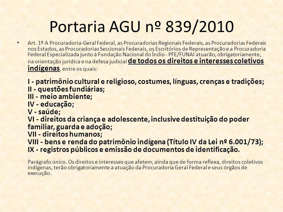 Portaria AGU nº 839/2010 Art.