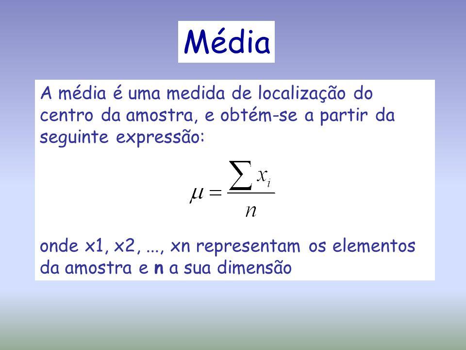 Média A média é uma medida de localização do centro da amostra, e obtém-se a partir da seguinte expressão: onde x1, x2,..., xn representam os elemento