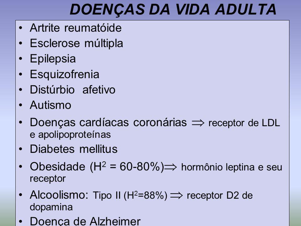 DOENÇAS DA VIDA ADULTA Artrite reumatóide Esclerose múltipla Epilepsia Esquizofrenia Distúrbio afetivo Autismo Doenças cardíacas coronárias  receptor