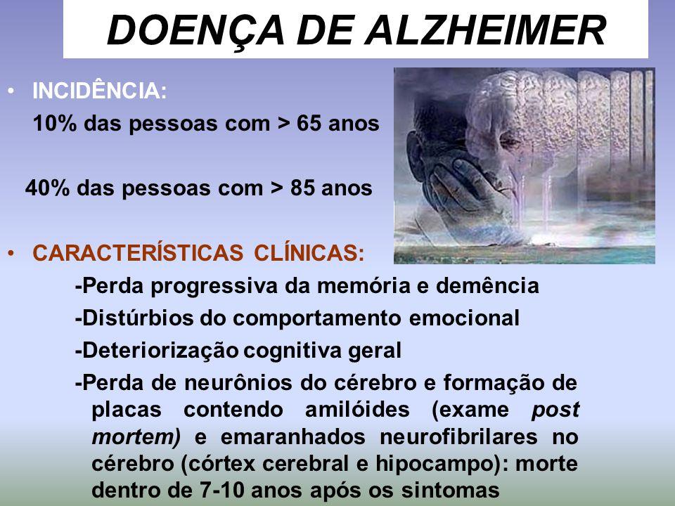 DOENÇA DE ALZHEIMER INCIDÊNCIA: 10% das pessoas com > 65 anos 40% das pessoas com > 85 anos CARACTERÍSTICAS CLÍNICAS: -Perda progressiva da memória e