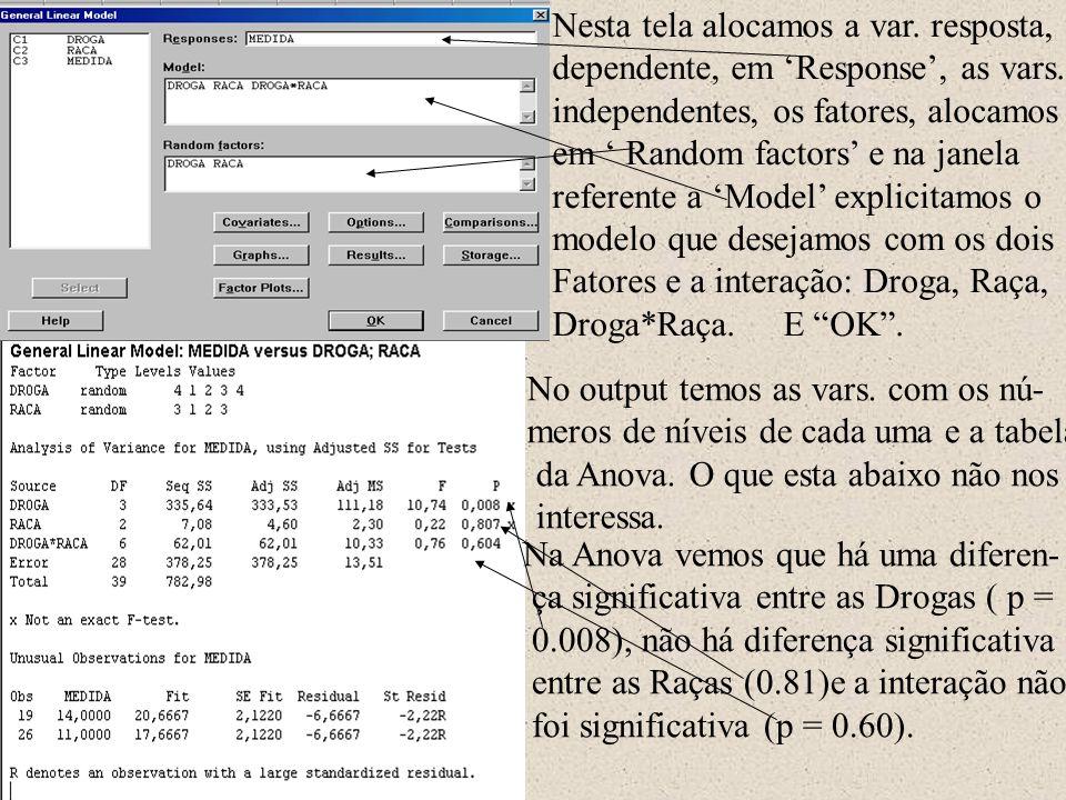 Nesta tela alocamos a var. resposta, dependente, em 'Response', as vars. independentes, os fatores, alocamos em ' Random factors' e na janela referent