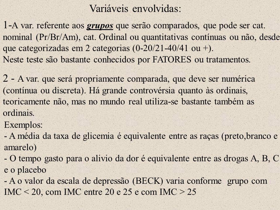Variáveis envolvidas: 1- A var. referente aos grupos que serão comparados, que pode ser cat. nominal (Pr/Br/Am), cat. Ordinal ou quantitativas contínu