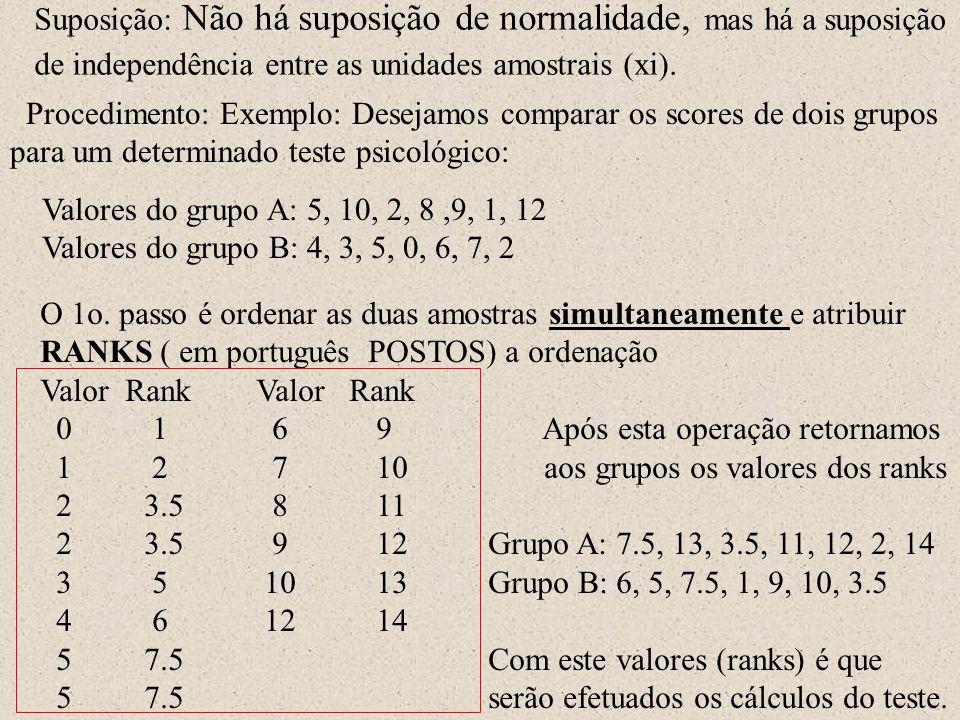 Suposição: Não há suposição de normalidade, mas há a suposição de independência entre as unidades amostrais (xi). Procedimento: Exemplo: Desejamos com