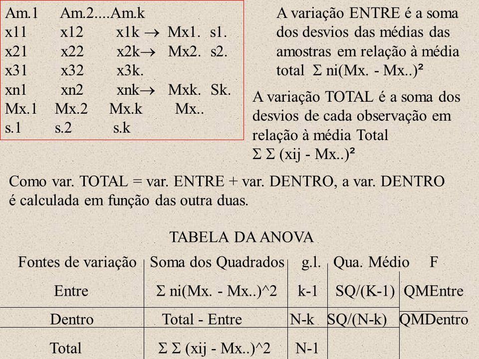 Am.1 Am.2....Am.k x11 x12 x1k  Mx1. s1. x21 x22 x2k  Mx2. s2. x31 x32 x3k. xn1 xn2 xnk  Mxk. Sk. Mx.1 Mx.2 Mx.k Mx.. s.1 s.2 s.k A variação ENTRE é
