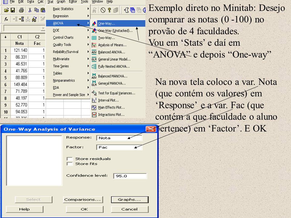 Após digitar meus grupos A e B nas colunas C1 e C2, na barra de ferramentas vou em Calc e daí em Calculator Na tela resultante no espaço Expression indico a operação que desejo, que é var.