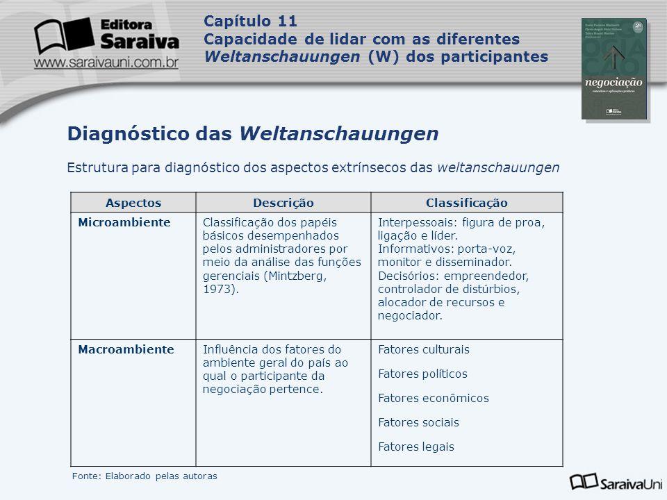 Capa da Obra Capítulo 11 Capacidade de lidar com as diferentes Weltanschauungen (W) dos participantes Estrutura para diagnóstico dos aspectos extrínse