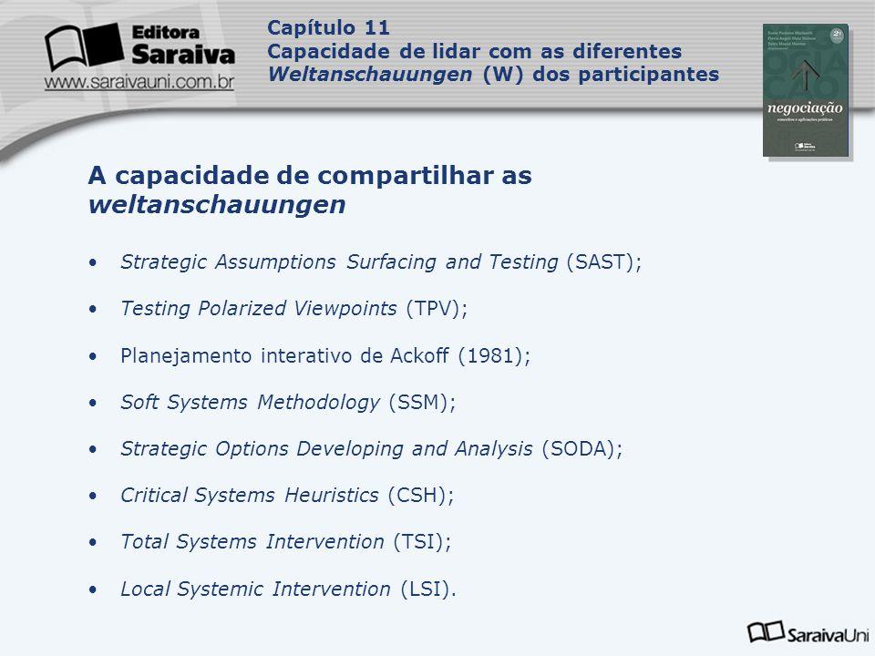 Capa da Obra Capítulo 11 Capacidade de lidar com as diferentes Weltanschauungen (W) dos participantes Strategic Assumptions Surfacing and Testing (SAS