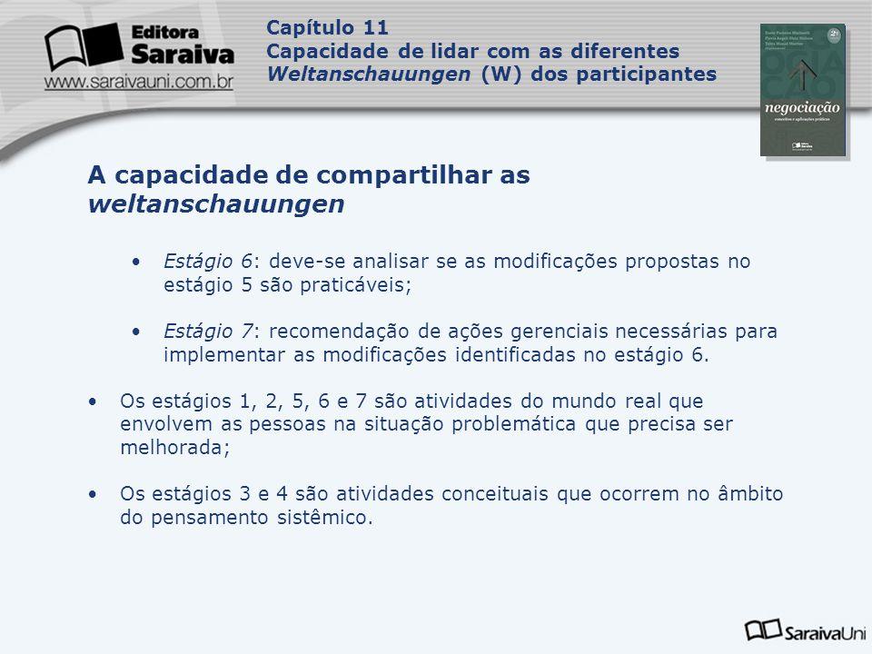 Capa da Obra Capítulo 11 Capacidade de lidar com as diferentes Weltanschauungen (W) dos participantes Estágio 6: deve-se analisar se as modificações p