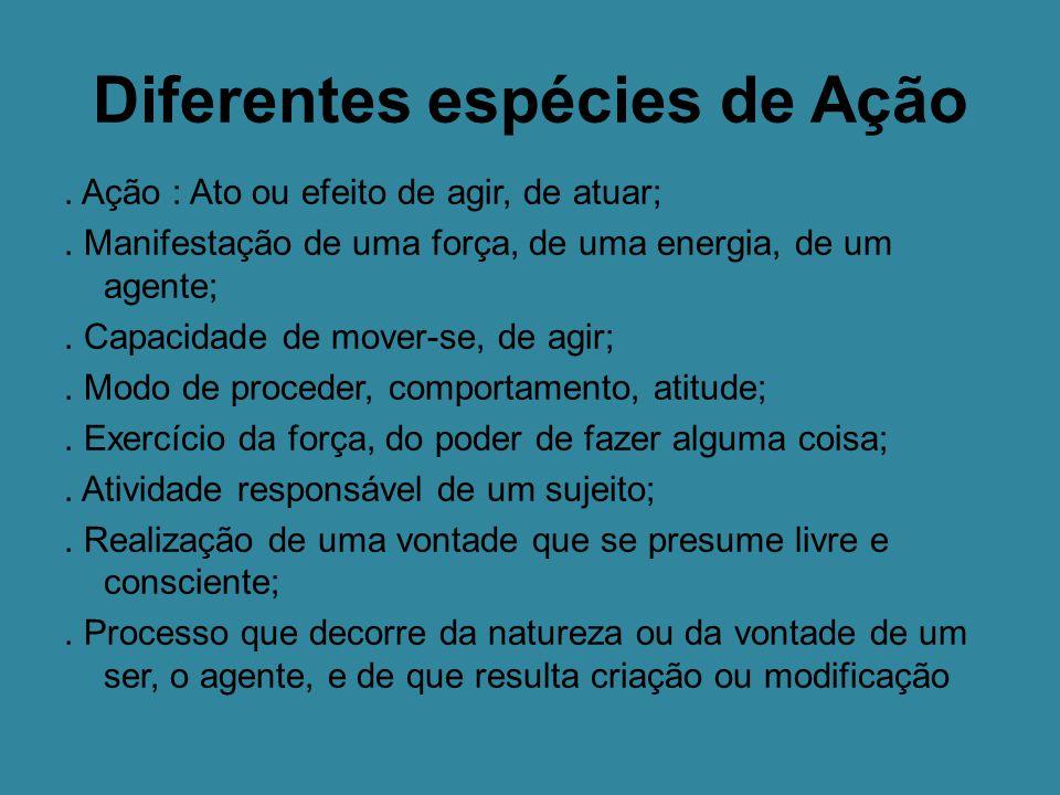 Diferentes espécies de Ação.Ação : Ato ou efeito de agir, de atuar;.
