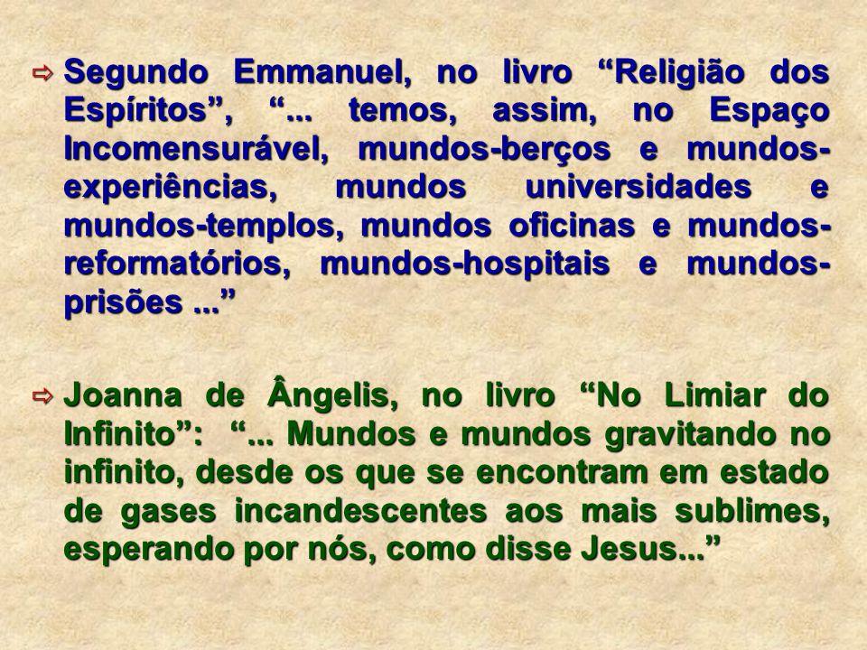 """ Segundo Emmanuel, no livro """"Religião dos Espíritos"""", """"... temos, assim, no Espaço Incomensurável, mundos-berços e mundos- experiências, mundos unive"""