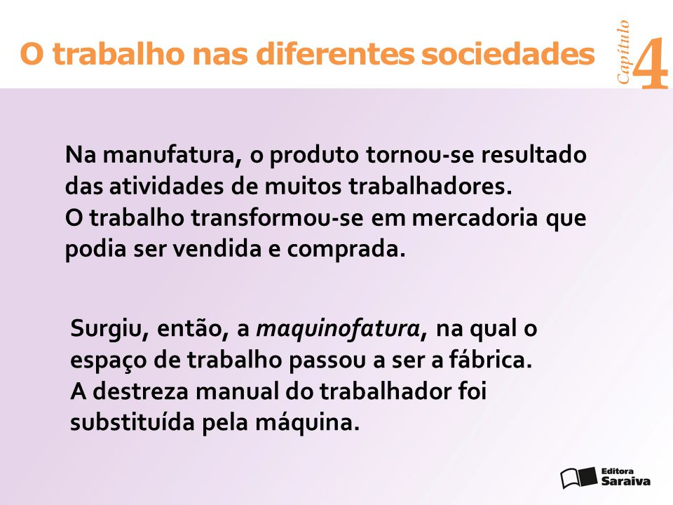 Capítulo 4 O trabalho nas diferentes sociedades Na manufatura, o produto tornou-se resultado das atividades de muitos trabalhadores. O trabalho transf