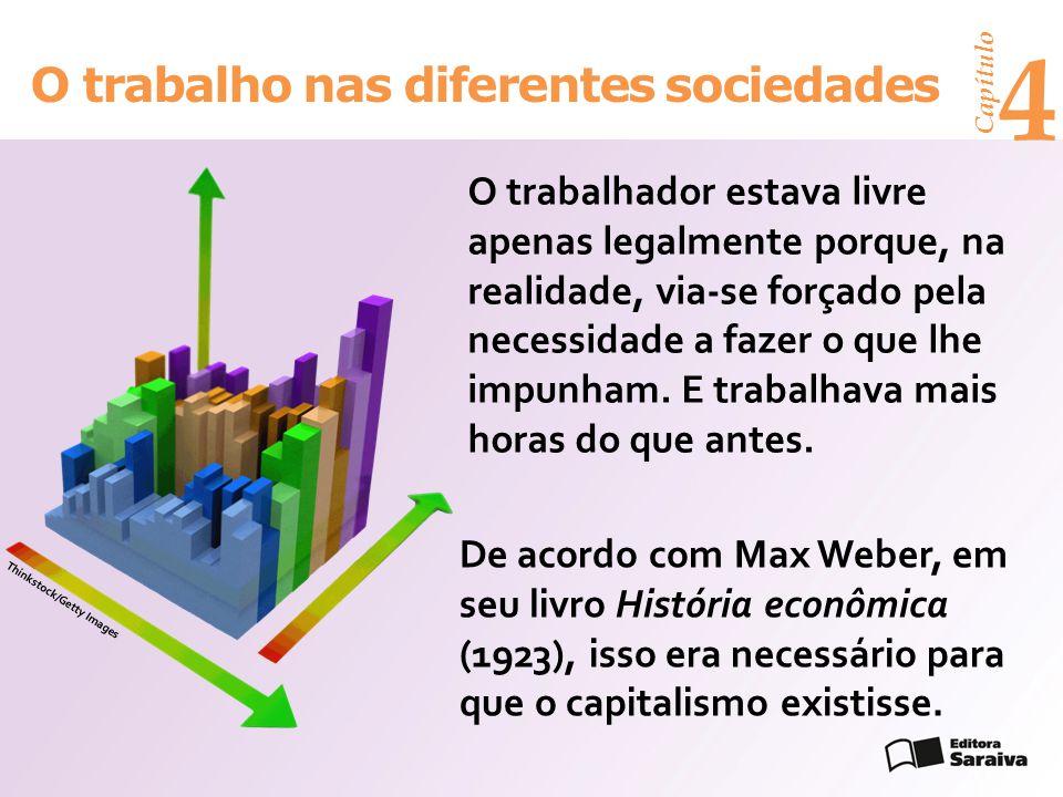 Capítulo 4 O trabalho nas diferentes sociedades O trabalhador estava livre apenas legalmente porque, na realidade, via-se forçado pela necessidade a f