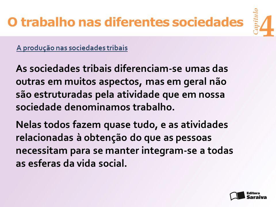 Capítulo 4 O trabalho nas diferentes sociedades A produção nas sociedades tribais As sociedades tribais diferenciam-se umas das outras em muitos aspectos, mas em geral não são estruturadas pela atividade que em nossa sociedade denominamos trabalho.
