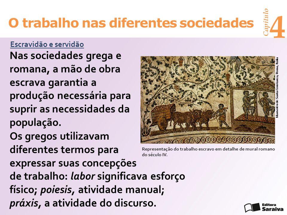 Capítulo 4 O trabalho nas diferentes sociedades Escravidão e servidão Nas sociedades grega e romana, a mão de obra escrava garantia a produção necessá