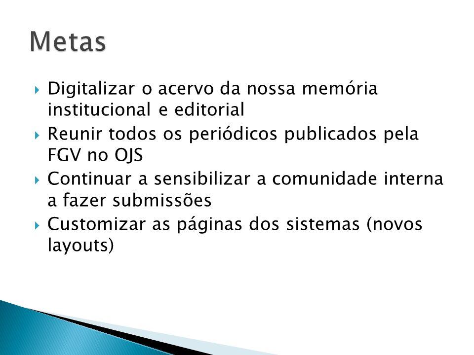  Digitalizar o acervo da nossa memória institucional e editorial  Reunir todos os periódicos publicados pela FGV no OJS  Continuar a sensibilizar a