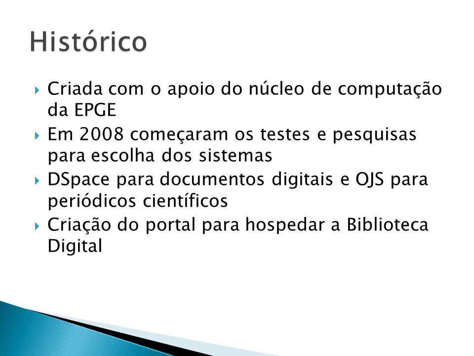  Criada com o apoio do núcleo de computação da EPGE  Em 2008 começaram os testes e pesquisas para escolha dos sistemas  DSpace para documentos digi
