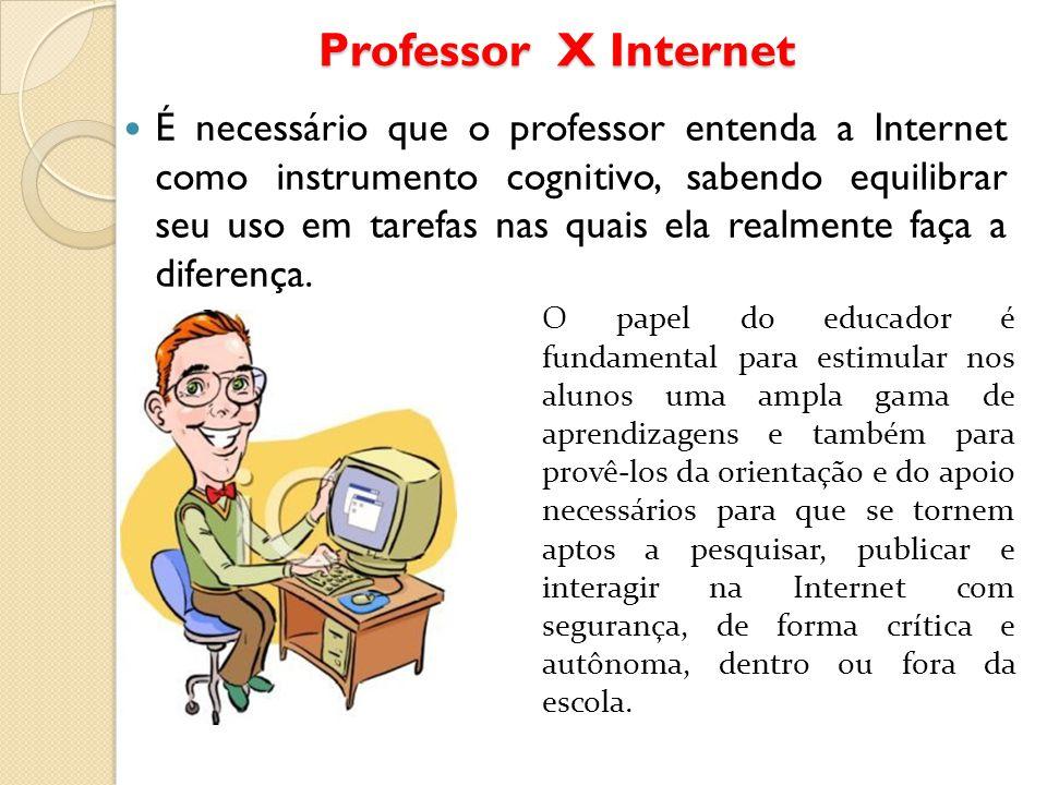 Professor X Internet É necessário que o professor entenda a Internet como instrumento cognitivo, sabendo equilibrar seu uso em tarefas nas quais ela r