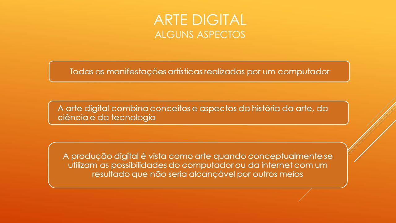 ARTE DIGITAL ALGUNS ASPECTOS Todas as manifestações artísticas realizadas por um computador A arte digital combina conceitos e aspectos da história da