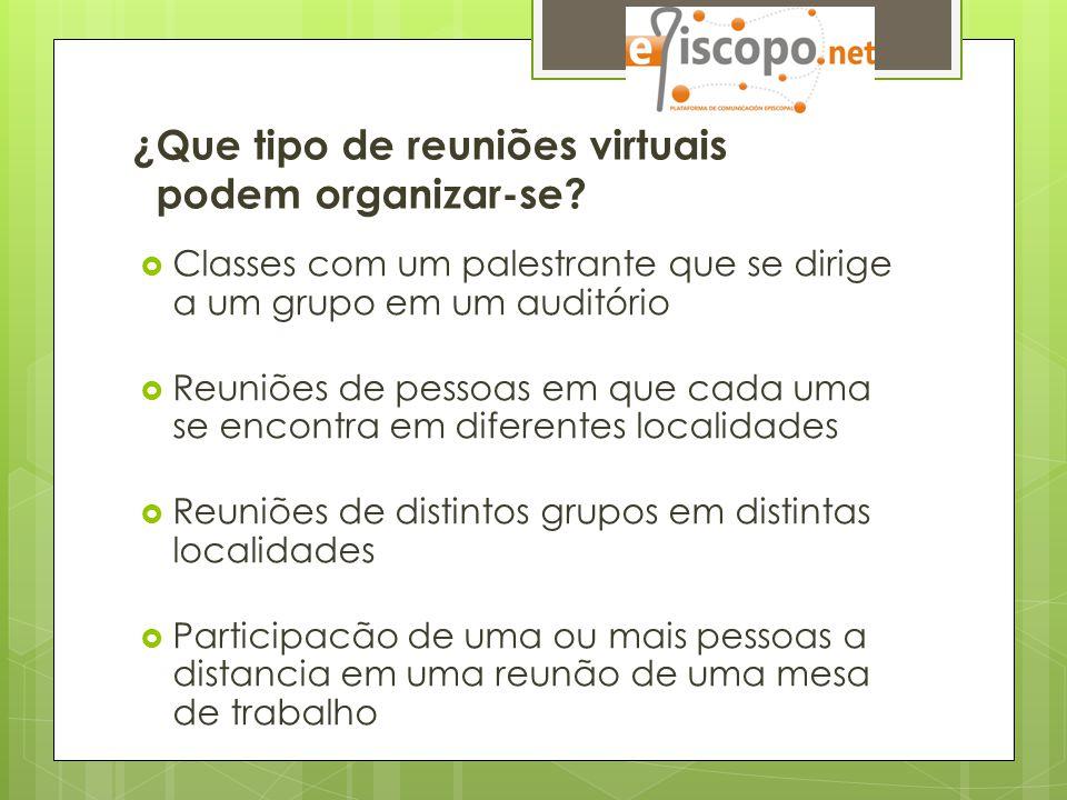 ¿Que tipo de reuniões virtuais podem organizar-se?  Classes com um palestrante que se dirige a um grupo em um auditório  Reuniões de pessoas em que