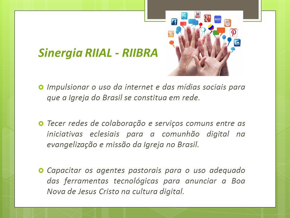Sinergia RIIAL - RIIBRA  Impulsionar o uso da internet e das mídias sociais para que a Igreja do Brasil se constitua em rede.  Tecer redes de colabo