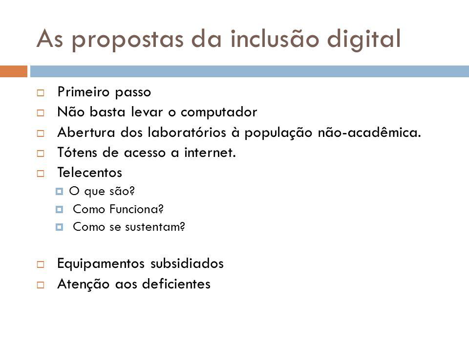 As propostas da inclusão digital  Primeiro passo  Não basta levar o computador  Abertura dos laboratórios à população não-acadêmica.  Tótens de ac