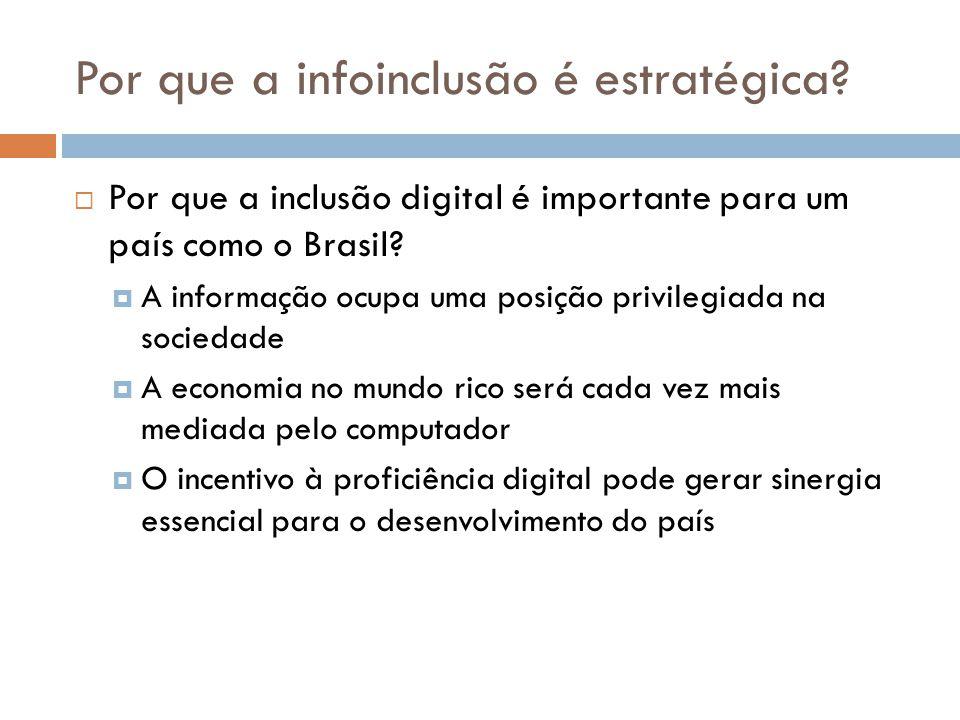 Por que a infoinclusão é estratégica?  Por que a inclusão digital é importante para um país como o Brasil?  A informação ocupa uma posição privilegi