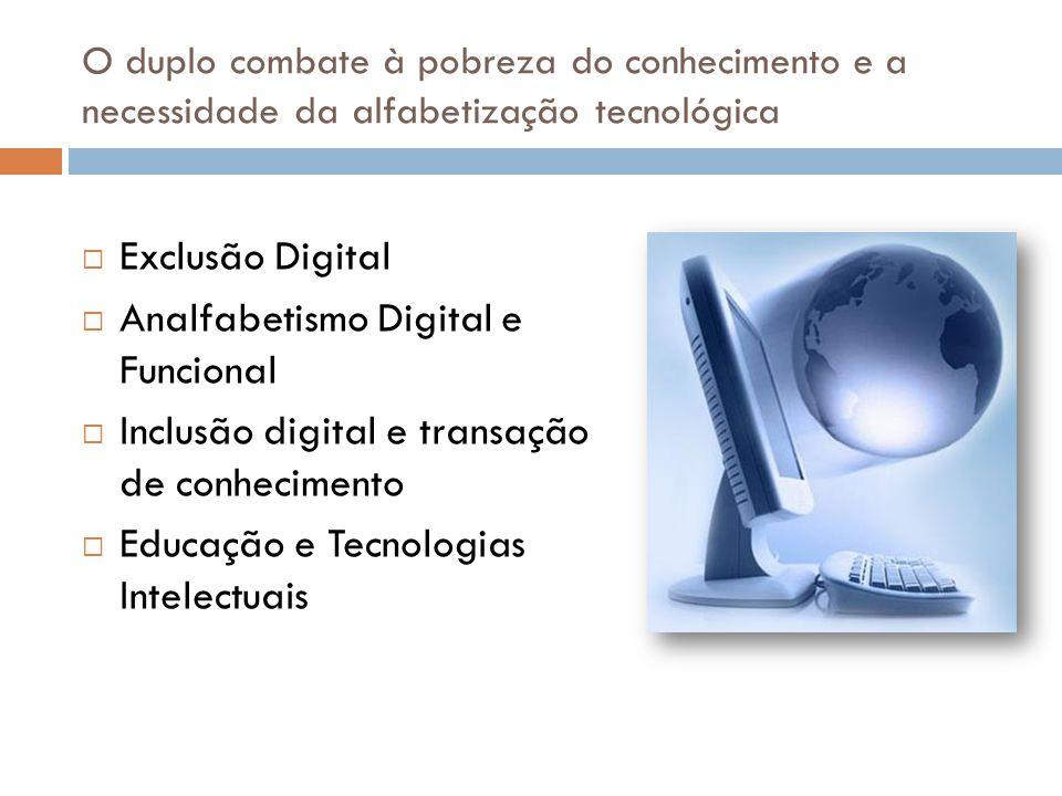 O duplo combate à pobreza do conhecimento e a necessidade da alfabetização tecnológica  Exclusão Digital  Analfabetismo Digital e Funcional  Inclus