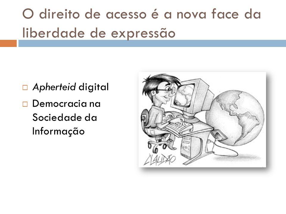 O direito de acesso é a nova face da liberdade de expressão  Apherteid digital  Democracia na Sociedade da Informação