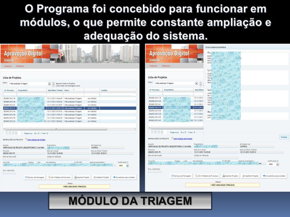 MÓDULO DA TRIAGEM O Programa foi concebido para funcionar em módulos, o que permite constante ampliação e adequação do sistema.