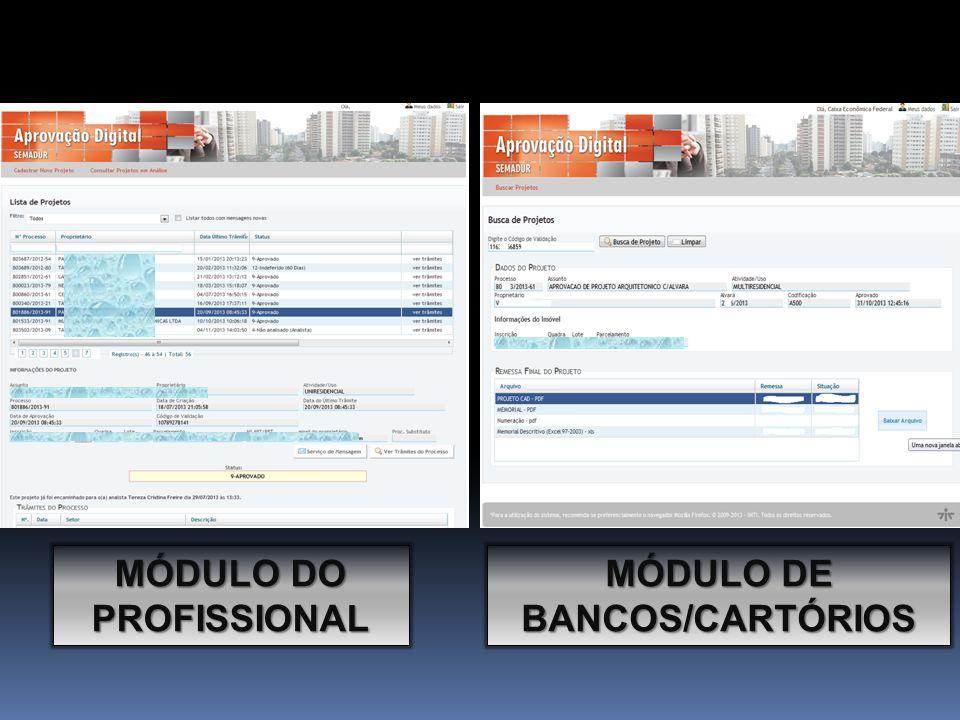 MÓDULO DE BANCOS/CARTÓRIOS MÓDULO DO PROFISSIONAL