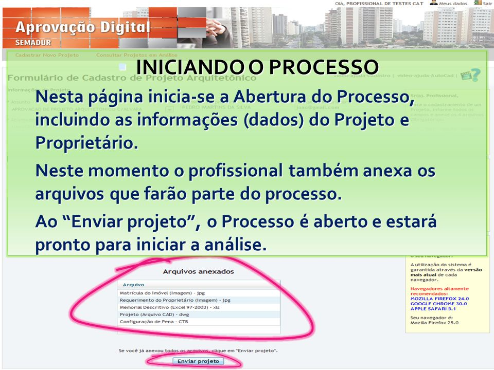  INICIANDO O PROCESSO Nesta página inicia-se a Abertura do Processo, incluindo as informações (dados) do Projeto e Proprietário. Neste momento o prof