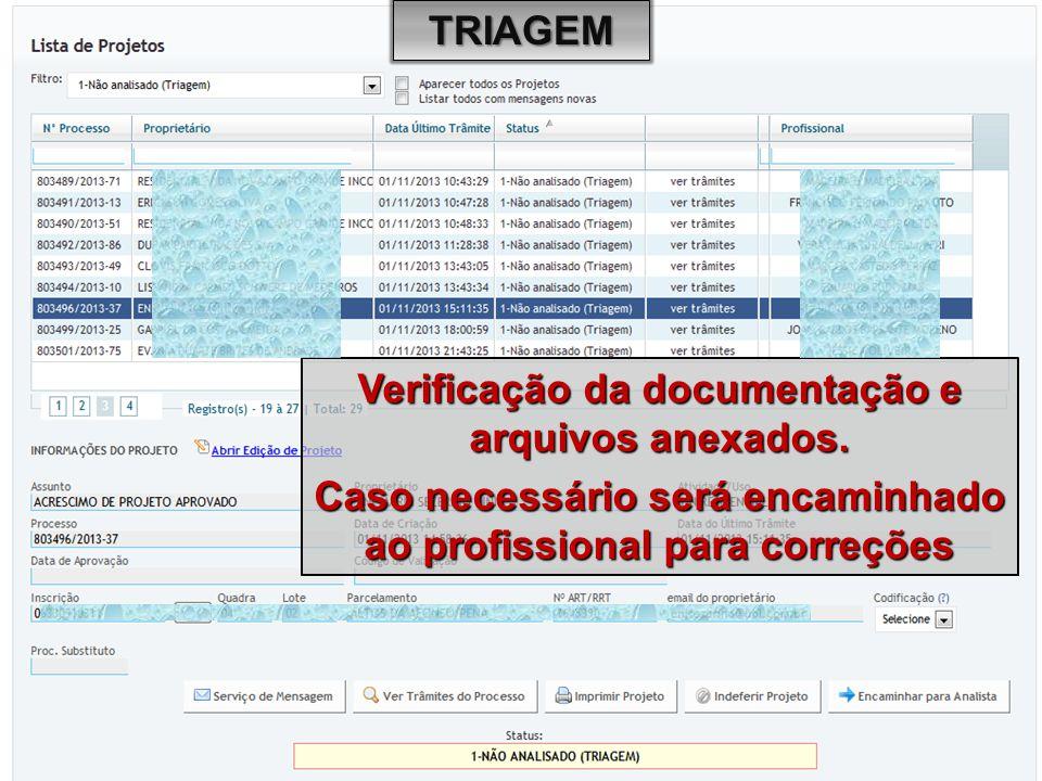 Verificação da documentação e arquivos anexados. Caso necessário será encaminhado ao profissional para correções TRIAGEM