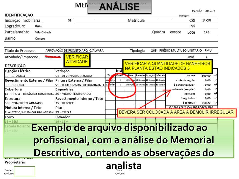 Exemplo de arquivo disponibilizado ao profissional, com a análise do Memorial Descritivo, contendo as observações do analista ANÁLISE
