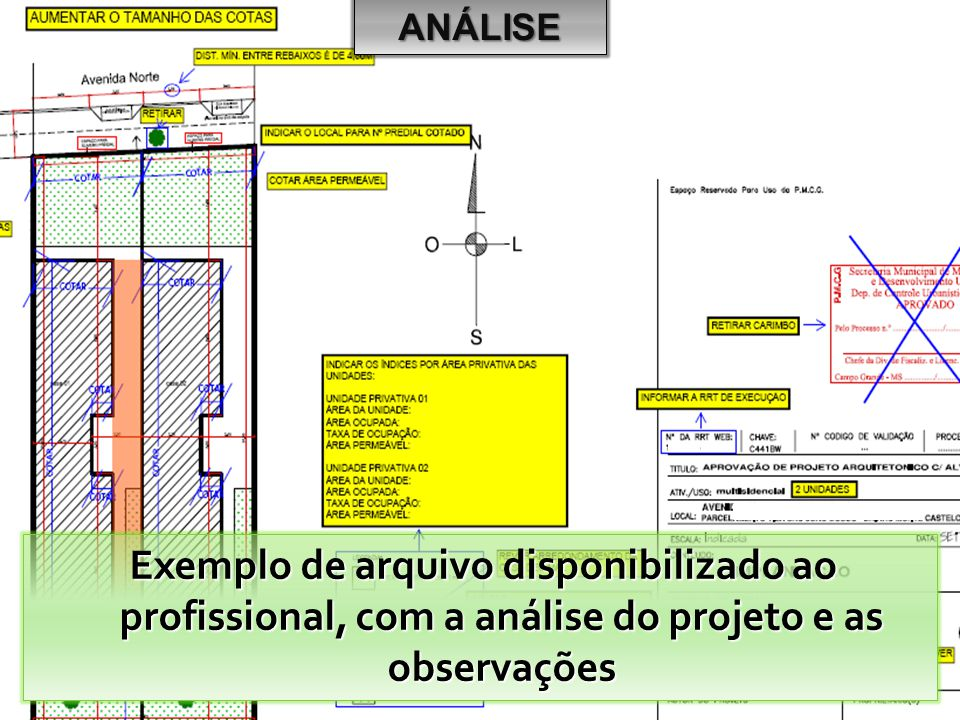ANÁLISE Exemplo de arquivo disponibilizado ao profissional, com a análise do projeto e as observações