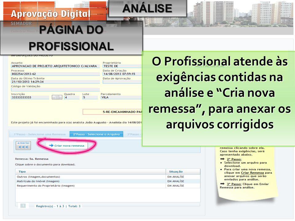 """PÁGINA DO PROFISSIONAL O Profissional atende às exigências contidas na análise e """"Cria nova remessa"""", para anexar os arquivos corrigidos ANÁLISE"""