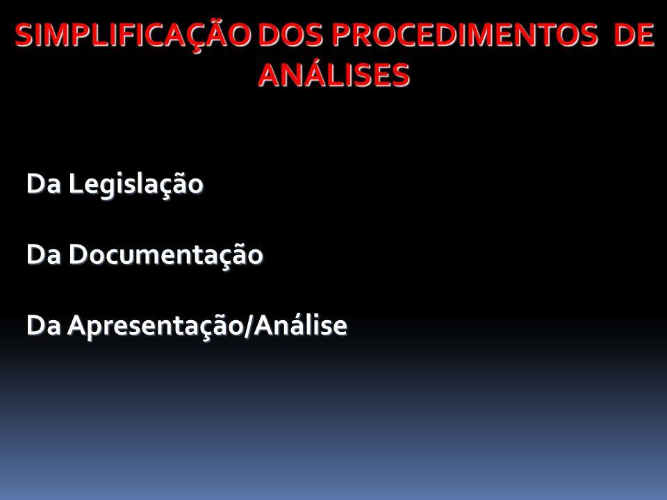 SIMPLIFICAÇÃO DOS PROCEDIMENTOS DE ANÁLISES Da Legislação Da Legislação Da Documentação Da Documentação Da Apresentação/Análise Da Apresentação/Anális