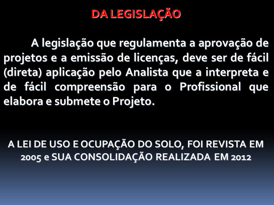 DA LEGISLAÇÃO A legislação que regulamenta a aprovação de projetos e a emissão de licenças, deve ser de fácil (direta) aplicação pelo Analista que a i